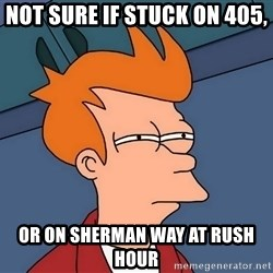 Futurama Fry - not sure if stuck on 405, Or on Sherman way at rush hour