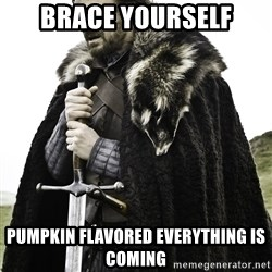 Sean Bean Game Of Thrones - brace yourself pumpkin flavored everything is coming