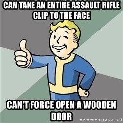 Fallout Boy - Can take an entire assault rifle clip to the face Can't force open a wooden door