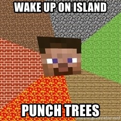 Minecraft Guy - wake up on island PUNCH Trees