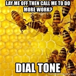Honeybees - lay me off then call me to do more work? dial tone