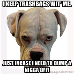 stahp guise - I keep Trashbags wit' me. Just incase i need to dump a nigga off!