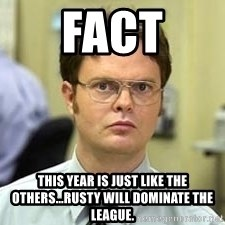 Dwight Shrute - FAct This year is just like the others...rusty will dominate the league.
