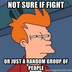 Futurama Fry - Not sure if fight or just a random group of people
