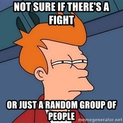 Futurama Fry - Not sure if there's a fight or just a random group of people