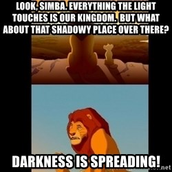 Lion King Shadowy Place - Look, Simba. Everything the light touches is our kingdom.  But what about that shadowy place over there? DARKNESS IS SPREADING!