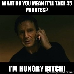 liam neeson taken - what do you mean it'll take 45 minutes? i'm hungry bitch!