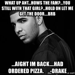 Drake quotes - what up ant...hows the fam?...you still with that girl?...hold on let me get the door....brb ...aight im back....had ordered pizza.      -drake
