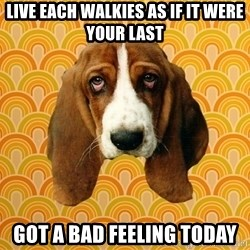 SAD DOG - Live each walkies as if it were your last Got a bad feeling today