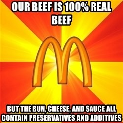 Maccas Meme - our beef is 100% real beef but the bun, cheese, and sauce all contain preservatives and additives