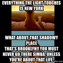 Lion King Shadowy Place - everything the light touches is new york  what about that shadowy place                                                                                                                  that's Brooklyn!! you must never go there simba, unless you're about that life.