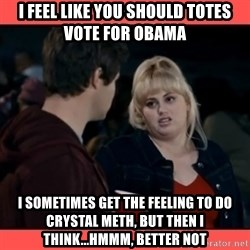 Doubtful Fat Amy  - I feel like you should totes vote for obama I sometimes get the feeling to do crystal meth, but then i think...hmmm, better not