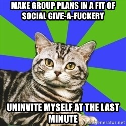 Introvert Cat - MAKE GROUP PLANS IN A FIT OF SOCIAL GIVE-A-FUCKERY   UNINVITE MYSELF AT THE LAST MINUTE