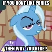 Seriously Pony - if you dont like ponies then why  you here?