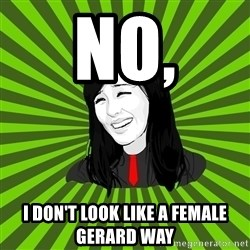 green fan - no, i don't look like a female gerard way