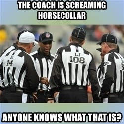 NFL Ref Meeting - the coach is screaming horsecollar anyone knows what that is?