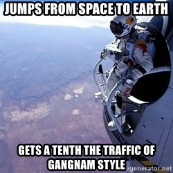 felix baumgartner - Jumps from space to earth Gets a tenth the traffic of gangnam style