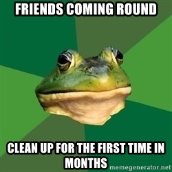 Foul Bachelor Frog - friends coming round clean up for the first time in months