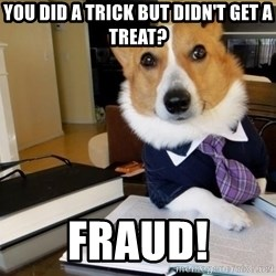 Dog Lawyer - You did a trick but didn't get a treat? Fraud!