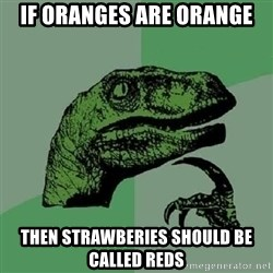 Philosoraptor - If oranges are orange then strawberies should be called reds