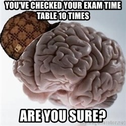 Scumbag Brain - You've checked your exam time table 10 times Are you sure?