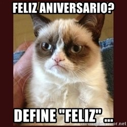 "Tard the Grumpy Cat - FELIZ ANIVERSARIO? DEFINE ""FELIZ"" ..."