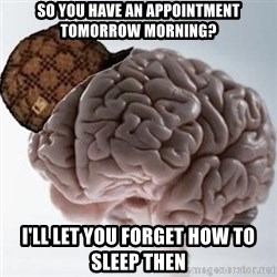 Scumbag Brain - SO you have AN APPOINTMENT tomorrow morning? i'll let you forget how to sleep then