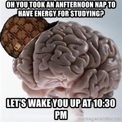 Scumbag Brain - OH YOU TOOK AN ANFTERNOON NAP TO HAVE ENERGY FOR STUDYING? LET'S WAKE YOU UP AT 10:30 PM