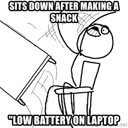 """Desk Flip Rage Guy - sits down after making a snack """"low battery on laptop"""