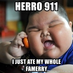 fat chinese kid - Herro 911 I just ate my whole famerry