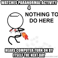 Nothing To Do Here (Draw) - Watches paranormal activity 4 Hears computer turn on by itself the next day