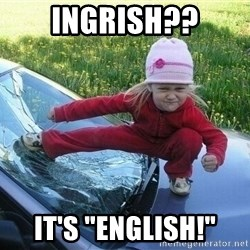 "Angry Karate Girl - ingrish?? it's ""english!"""