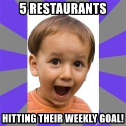 Excited - 5 restaurants hitting their weekly goal!