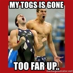 Ecstatic Michael Phelps - MY TOGS IS GONE TOO FAR UP..