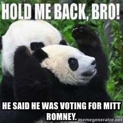 Hold me back panda -  he said he was voting for mitt romney.