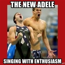Ecstatic Michael Phelps - THE NEW ADELE SINGING WITH ENTHUSIASM