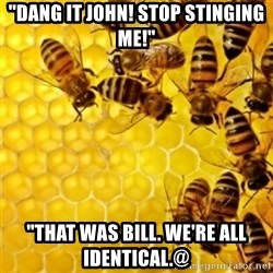 "Honeybees - ""DANG IT JOHN! STOP STINGING ME!"" ""THAT WAS BILL. WE'RE ALL IDENTICAL.@"