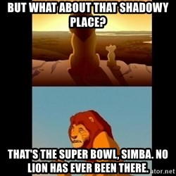 Lion King Shadowy Place - But what about that shadowy place? That's the Super Bowl, simba. No lion has ever been there.