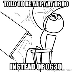 Desk Flip Rage Guy - TOLD TO BE AT PT AT 0600 INSTEAD OF 0630