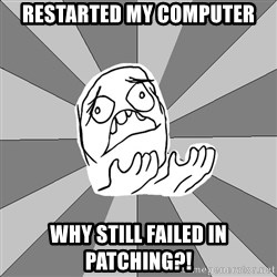 Whyyy??? - RESTARTED MY COMPUTER WHY STILL FAILED IN PATCHING?!
