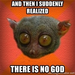 Scared lemur - and then i suddenly realized there is no god