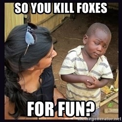 Skeptical third-world kid - so you kill foxes for fun?