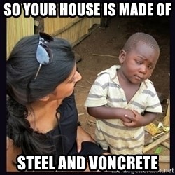 Skeptical third-world kid - SO YOUR HOUSE IS MADE OF  STEEL AND VONCRETE