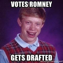 Bad Luck Brian - Votes Romney gets drafted