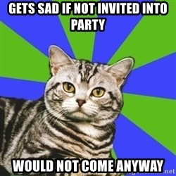 Introvert Cat - gets sad if not invited into party would not come anyway