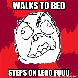 Rage FU - walks to bed steps on lego fuuu