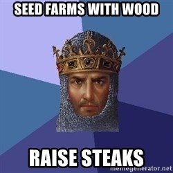 Age Of Empires - seed farms with wood raise steaks