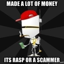 TheBotNet Mascot - made a lot of money its rasp or a scammer