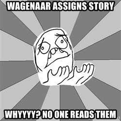 Whyyy??? - wagenaar assigns story whyyyy? no one reads them