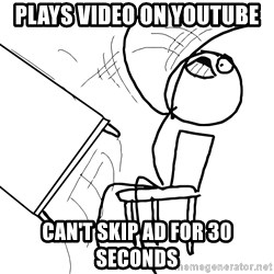Desk Flip Rage Guy - Plays video on youtube can't skip ad for 30 seconds